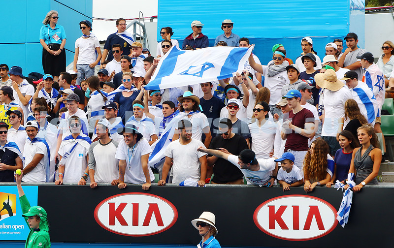 23-1-16. Australian Open 2016. Dudi Sela fans. Israeli flags. photo: peter haskin