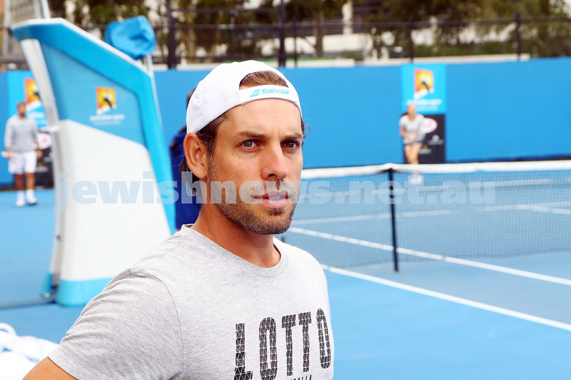 14-1-16. Australian Open. Jason Israelsohn at a practice session. Photo: Peter Haskin