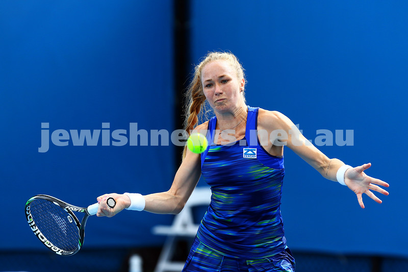14-1-16. Australian Open Womens Qualifying round 1. Julia Glushko def Eri Hozumi 6-1 6-3. Photo: Peter Haskin