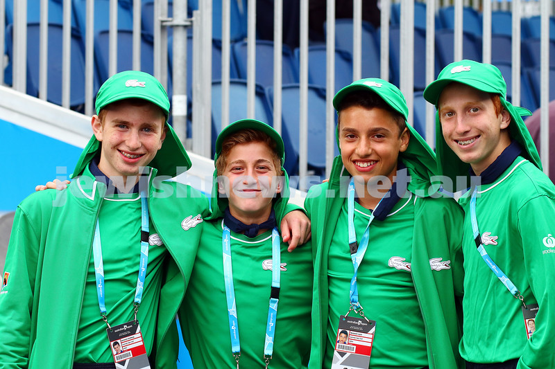 14-1-15. Ball kids at the Australian Open. From left: Benjamin Goldberg, Gabriel Lotsoff, Benjamin Levin, Saul Lotsoff. Photo: Peter Haskin