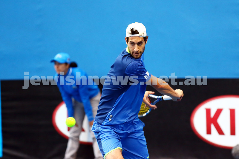 14-1-16. Australian Open Mens Qualifying round 2. Amir Weintraub lost to Daniel Evans 7-5 7-6 2-6. Photo: Peter Haskin