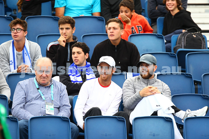 14-1-16. Australian Open Womens Qualifying round 1. Dudi Sela watches on as Shahar Peer lost to Kristyna Pliskova 4-6 6-4 3-6. Photo: Peter Haskin