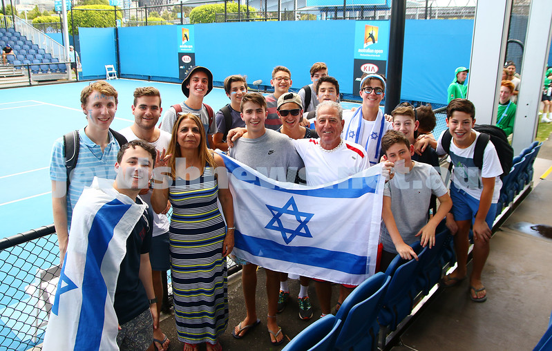 13-1-16. Australian Open Mens Qualifying round 1. Amir Weintraub def Luke Saville 4-6 6-3 6-4. Fans show their support. Photo: Peter Haskin