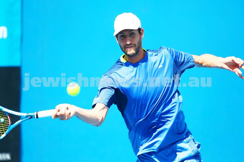 13-1-16. Australian Open Mens Qualifying round 1. Amir Weintraub def Luke Saville 4-6 6-3 6-4. Photo: Peter Haskin