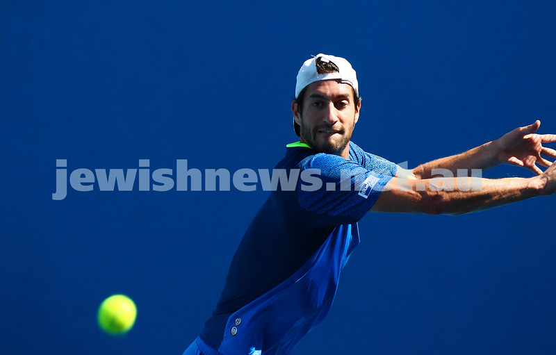 13-1-16. Australian Open Mens Qualifying round 1. Amir Weintraub def Luke Saville 4-6 6-3 6-4. Photo: Peter Haskin