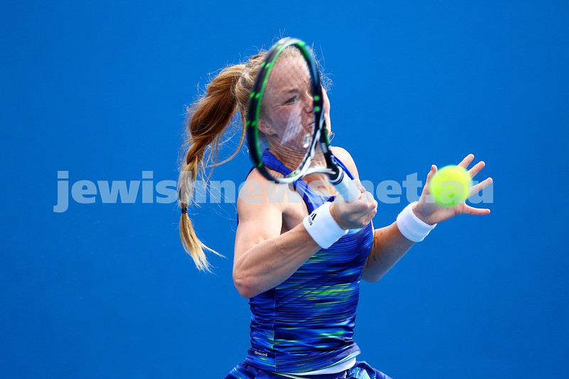 14-1-16. Australian Open Womens Qualifying round 1. Julia Glushko def Eri Hozumi 6-1 6-3. Photo: Peter Haskin