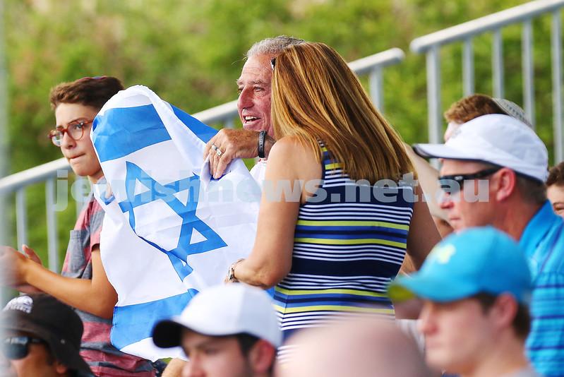 13-1-16. Australian Open Mens Qualifying round 1. Amir Weintraub def Luke Saville 4-6 6-3 6-4. Fans show their support. Photo: Peter Haskin