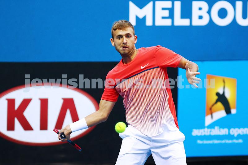 14-1-16. Australian Open Mens Qualifying round 2. Amir Weintraub lost to Daniel Evans 7-5 7-6 2-6. Photo: Peter Haskin