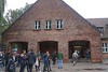 Main visitor entrance to Auschwitz which is on the southwest corner of the remaining Auschwitz grounds. Camera is facing south southeast. This is the same spot where new arrivals to Auschwitz were processed into the camp.