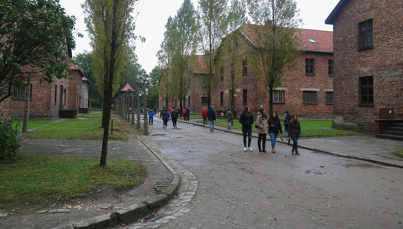 Walkways between the prison buildings, which were called blocks. More people died at Auschwitz-Birkinau than the total WWII deaths of the United States and Britain combined, in all theaters.