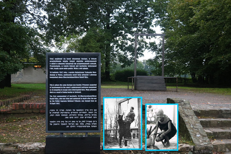 """INTERESTING FOOTNOTE-This lot was the location of Gestapo headquarters for Auschwitz. Also where Rudolf Hoess, (pronounced """"hess"""") the SS Commander of Auschwitz, was hanged after the war (inset). Hoess had bragged during his trial about the killing prowess of his facility. His beautiful daughter, Bridgett Hoess (second inset) kept her father's identity secret, took a false name and began working as a fashion model in Spain after the war. She married an American, moved to the U.S. and ironically worked as a sales assistant for an upscale JEWISH owned fashion boutique in Washington, D.C., called Saks Jandel. First Ladies and senators wives shopped for clothes there and Bridgett fitted many of them, even socialized with them. She kept her secret, working there for 30+ years! One day she told the owners who her dad was. Their attitude was acceptance, saying she was a victim, too. As of 2015 she was still alive, using an alias and living in seclusion and constant fear of some type of retaliation.  Inset photos from daily mail.co.uk article from June 1, 2015 by Allan Hall from Mailonline."""