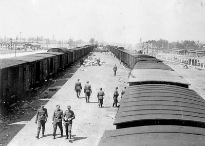 Empty rail cars at Birkinau after the selection process was complete. Two nearby marshaling rail yards meant that another train full of victims would arrive soon. In the distance in the upper right and upper left are smokestacks of two of the crematoriums.
