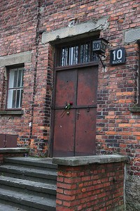 Main door to Block 10, the medical experiments lab, which was closed to the public.
