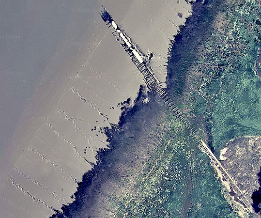 Google Earth view of the landing stage