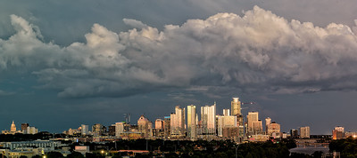 Downtown at sunset from Zilker Club House