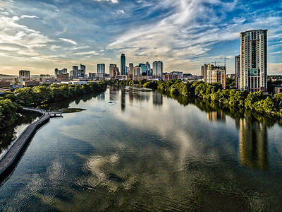 Blue Lady Bird Lake Austin Skyline 1