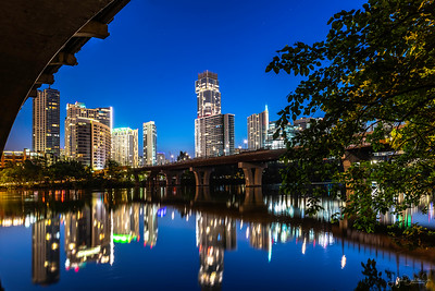 Austin skyline from under the Lamar Street bridge before dawn.