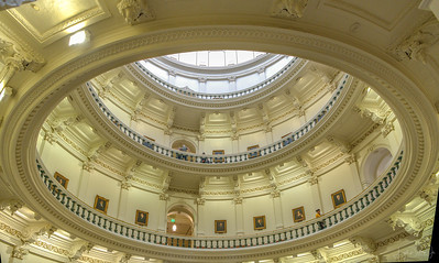 Looking up into the Rotunda from below.