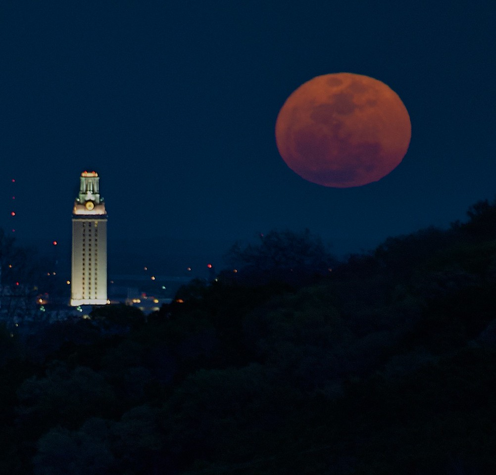 Super Moon Rising near the UT Tower