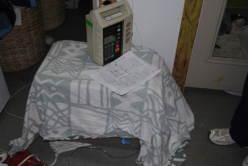 Parvo ward - sickest pups are placed in large carriers with IV pump. Heating pads underneath carrier keep them warm - shorey russell