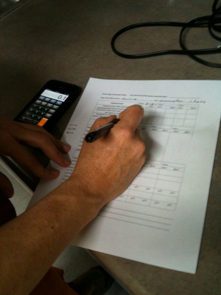 Parvo - Preparing Hunee's chart & calculating meds for the various med dosages she will require. - Shorey Russell