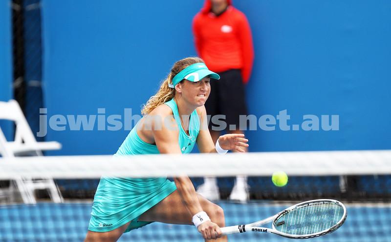 15-1-14. Australian Open 2014. Womens Doubles. Round 1. Shahar Peer (ISR)/Silvia Soler-Espinosa (ESP) def Yung-Jan Chan (TPE)/<br /> Janette Husarova (SVK) 7-5 4-6 6-4. Photo: Peter Haskin