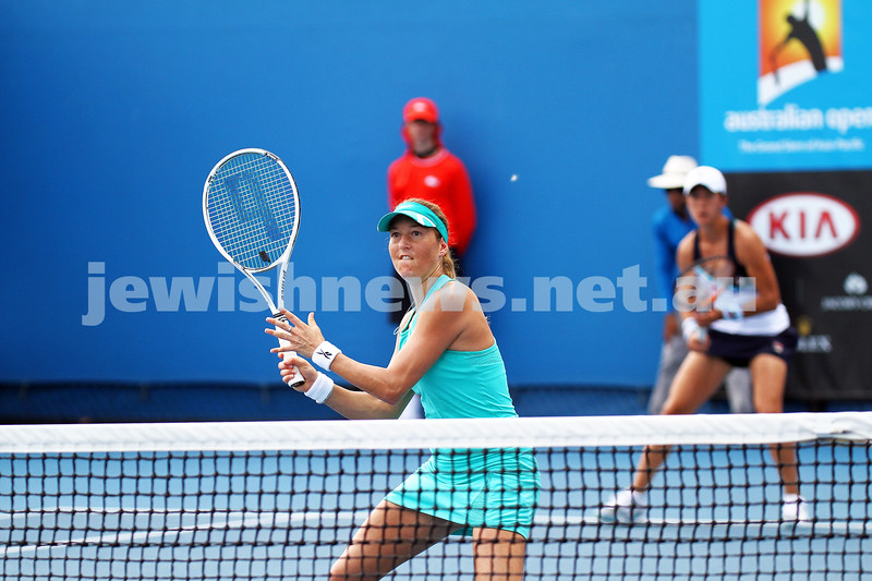15-1-14. Australian Open 2014. Womens Doubles. Round 1. Shahar Peer (ISR)/Silvia Soler-Espinosa (ESP) def Yung-Jan Chan (TPE)/<br /> Janette Husarova (SVK) 7-5 4-6 6-4. Photo: Peter Haskin