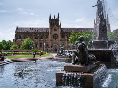 St Mary's Cathedral behind Archibald Fountain