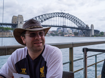 Jonti in front of the Harbour Bridge