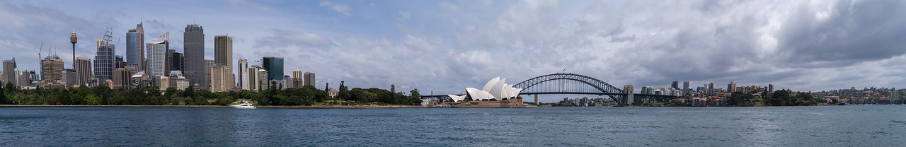 Panorama of downtown Sydney, Opera House and Harbour Bridge
