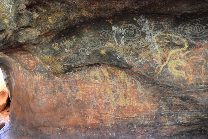 Some of the art work that tells the story of their tribe and it's trip to Uluru.
