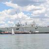 Naval ship in the harbor.