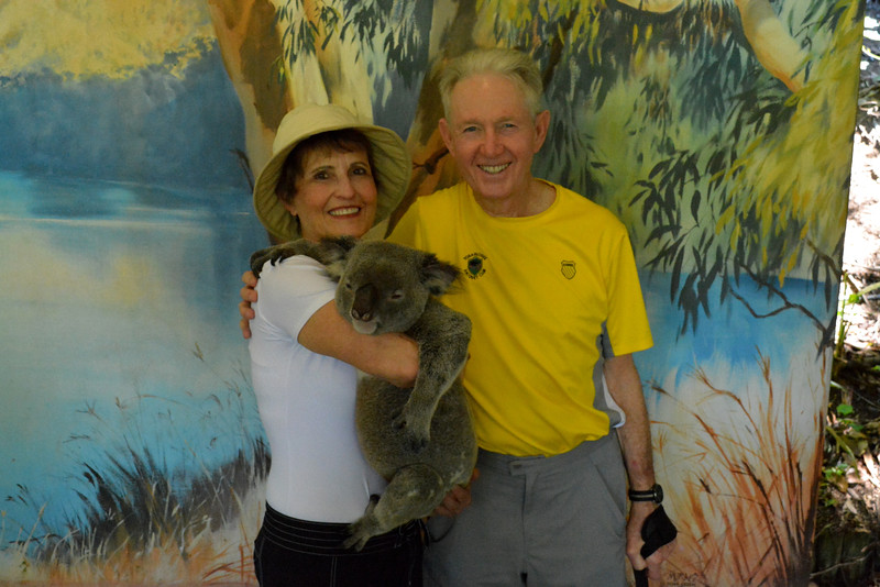 Two happy people just breaking the Australian law.  It is against the law to hold a koala.  Kuranda just ignores it.