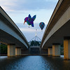 Balloons floating past