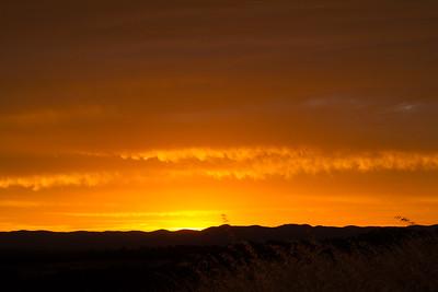 Sunset glow on the horizon