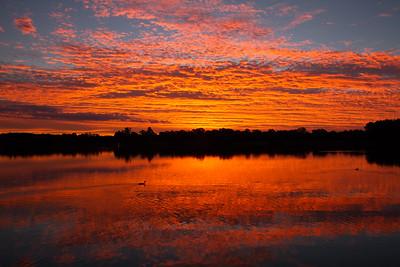 Stunning sunset over Lake Ginninderra, Canberra