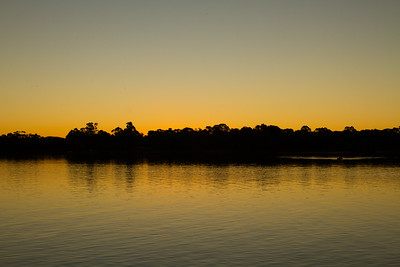 Setting sun on lake Ginninderra, Canberra