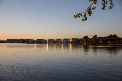 Sunrise over Kingston foreshore, Canberra