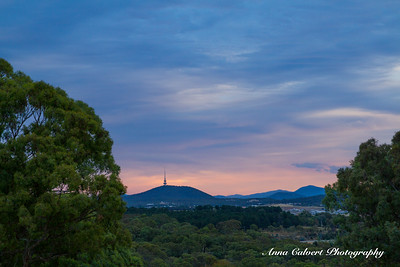 Telstra Tower at sunset