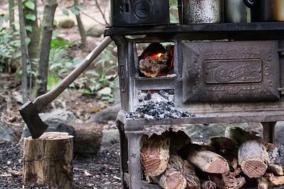 Stove for biscuits made on aborigine walk at Mossman Gorge, Queensland, Australia.