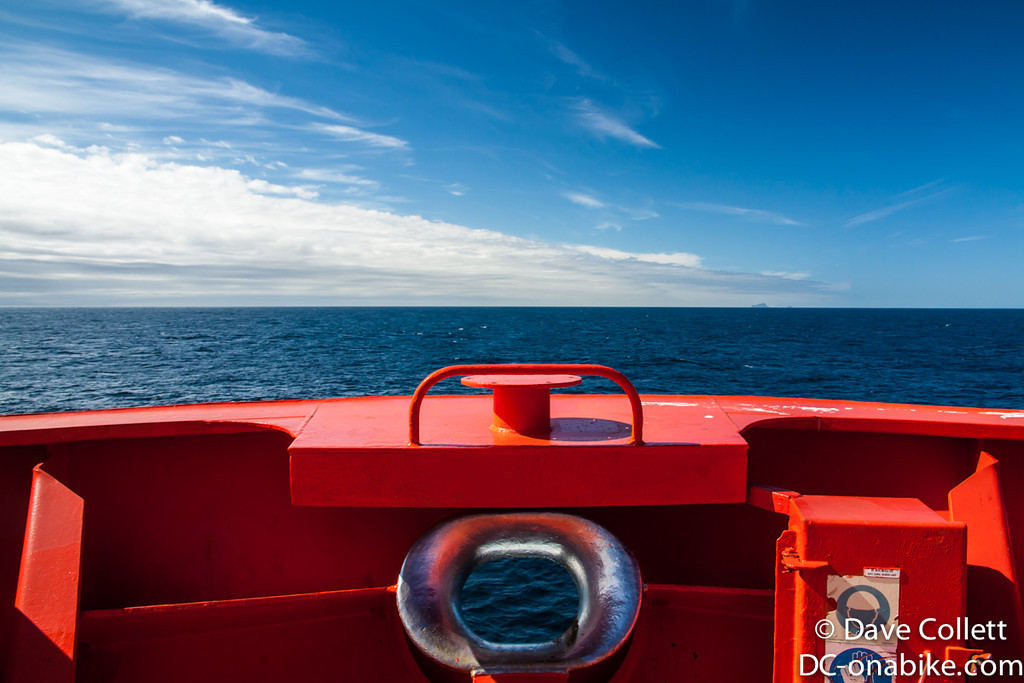 Bow. Approaching Foveaux Strait- Solander Islands just to starboard.