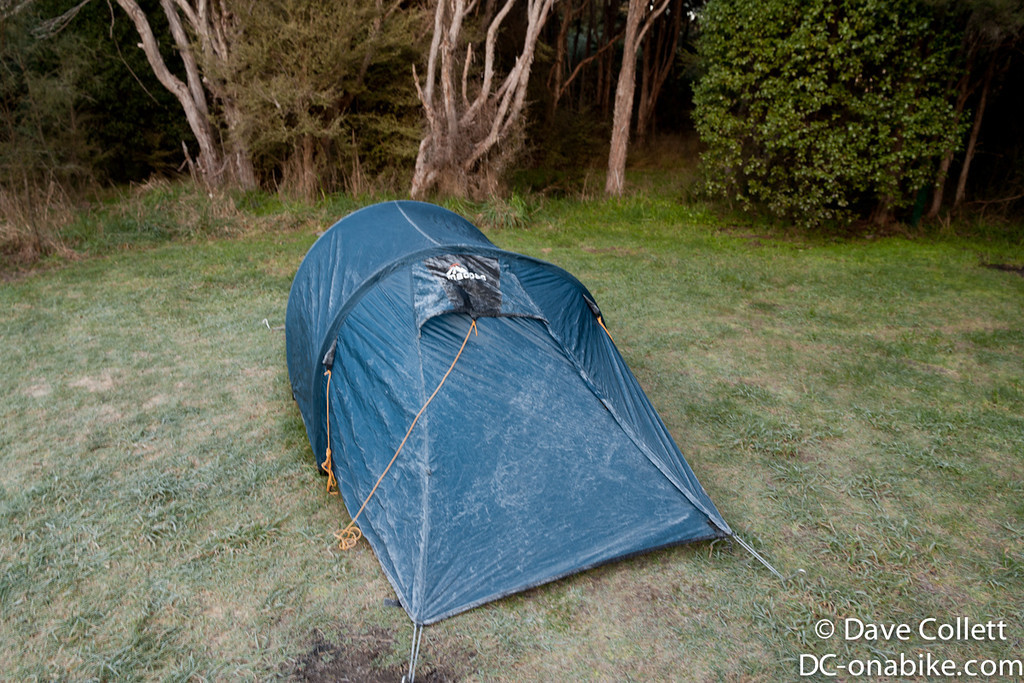 Ice on the tent - Kowhai Point campsite