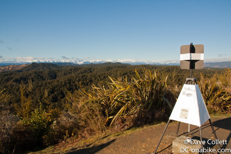 Lookout at Hope Saddle - St Arnaud Range and Robert Ridge in the background. Graffiti on trig..