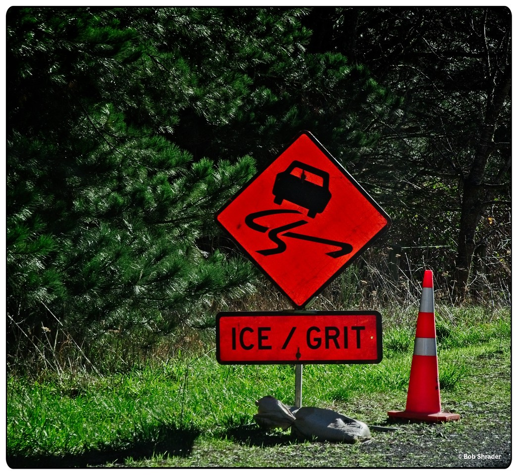 Ice and Grit Roadsign