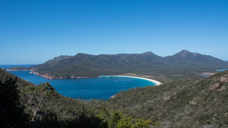 Freycinet NP is well known for Wineglass Bay; you can hike to it, or hike to a lookout above it...guess what we did!