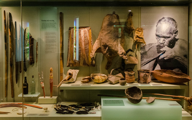 The display cases were based on various aspects of Aboriginal life; this one was called Keeping and Carrying.  Don't miss the animal skin on the back wall that was used for carrying water.
