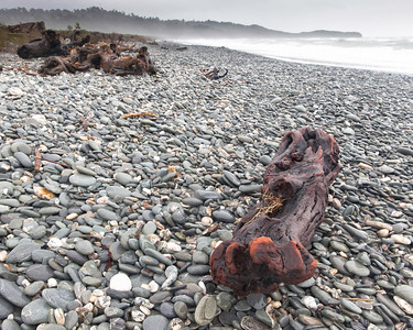The tides are not gentle on the West Coast of New Zealand.   The driftwood shows signs of extensive wear and the beaches are all rock, little sand.