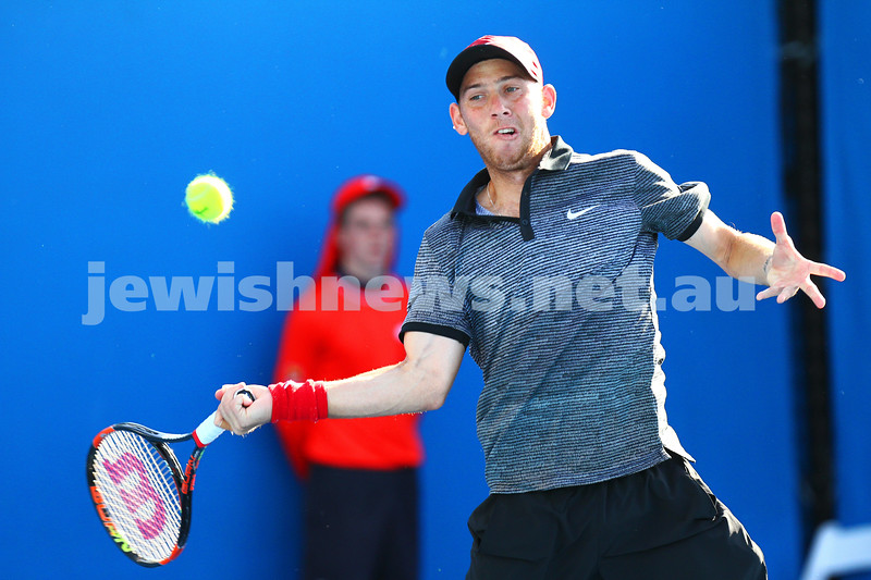 9-1-15.  Australian Open 2015.  Dudi Sela def Germany's Jan-Lennard Struff 6-4 4-6 3-6 6-3 7-5 . Photo: Peter Haskin