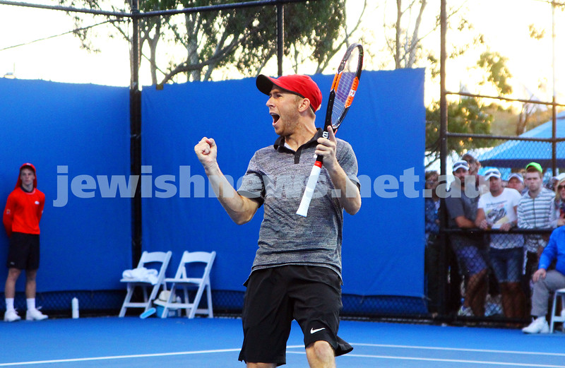 19-1-15.  Australian Open 2015. 8.30 at night and after more than 3 hrs Dudi Sela celebrates his five set first round win against  Germany's Jan-Lennard Struff 6-4 4-6 3-6 6-3 7-5 . Photo: Peter Haskin