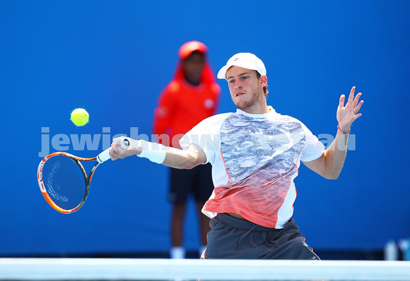 19-1-15.  Australian Open 2015.  Day 1.  Diego Schwartzman lost to Kevin Anderson, 7-6(5) 7-5 5-7 6-4 . Photo: Peter Haskin